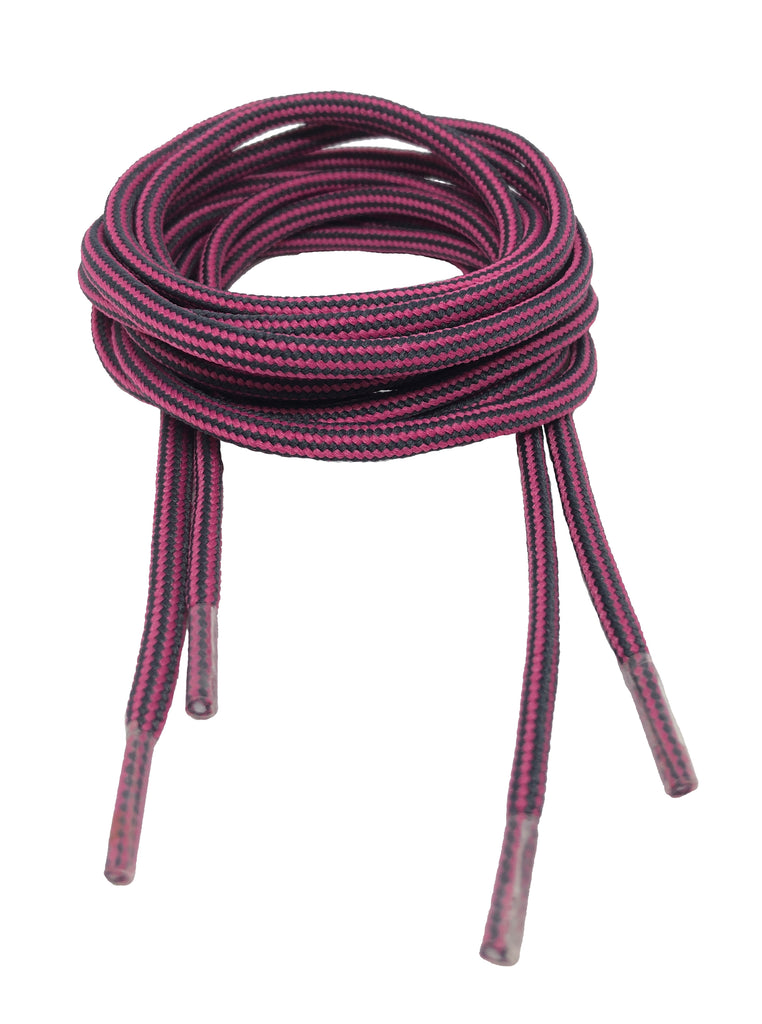 Round Strong Shoelaces/Bootlaces Fuschia Charcoal - 4mm wide