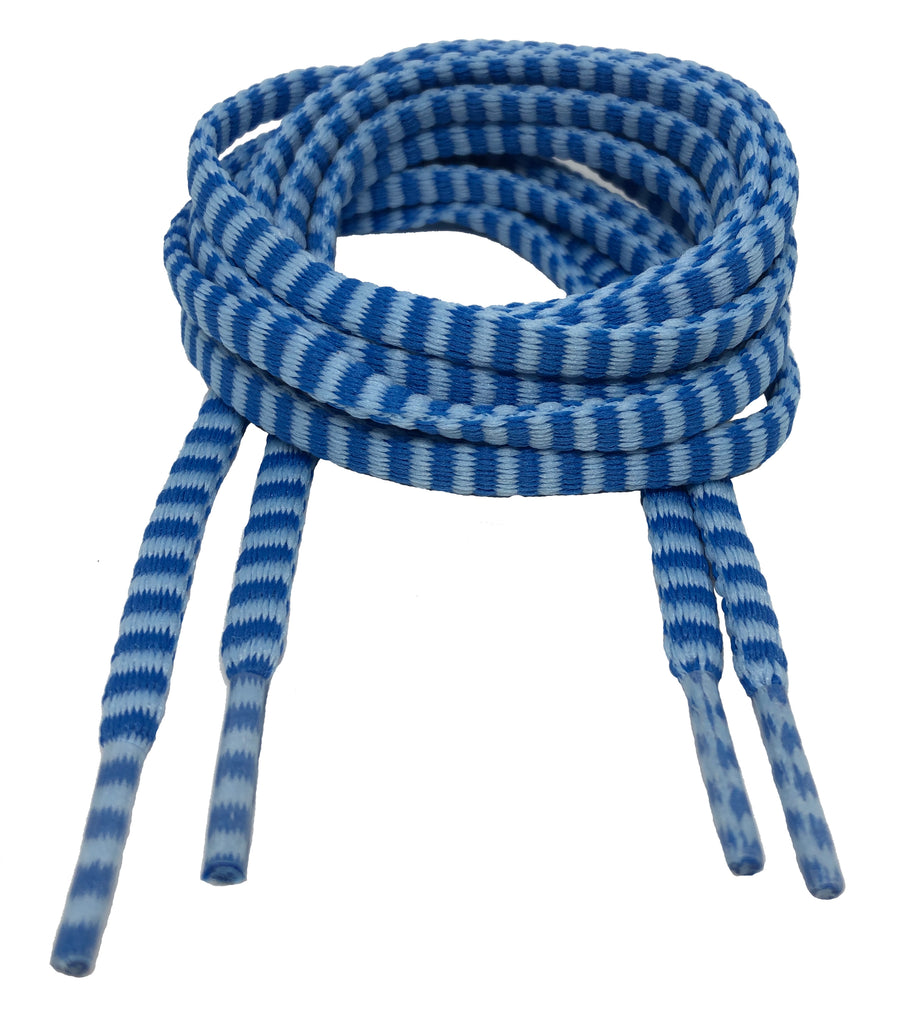 Flat Padded Striped Shoelaces Blue Light Blue - 8mm wide