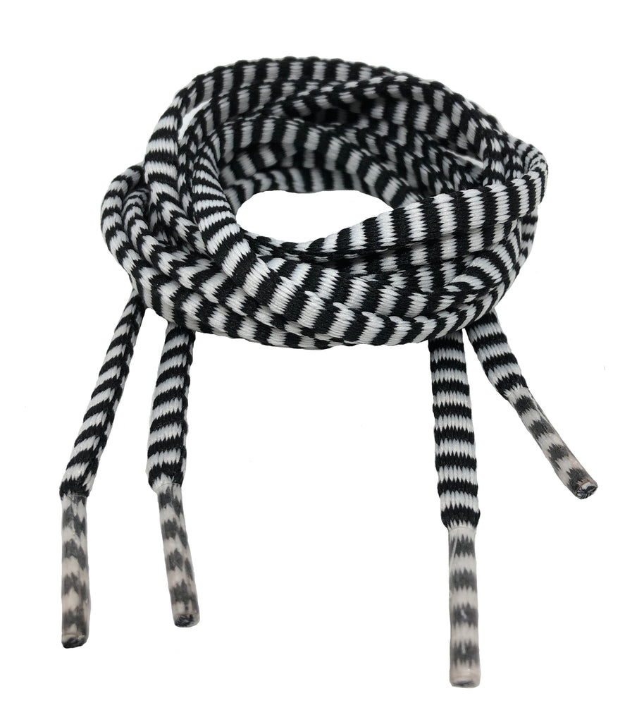 Flat Padded Striped Shoelaces Black White - 8mm wide