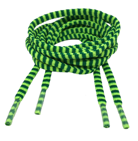 Flat Padded Striped Shoelaces Green Neon Green - 8mm wide