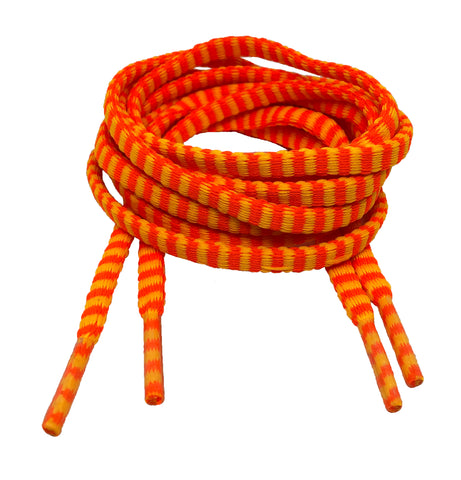 Flat Padded Striped Shoelaces Light Orange Neon Orange - 8mm wide