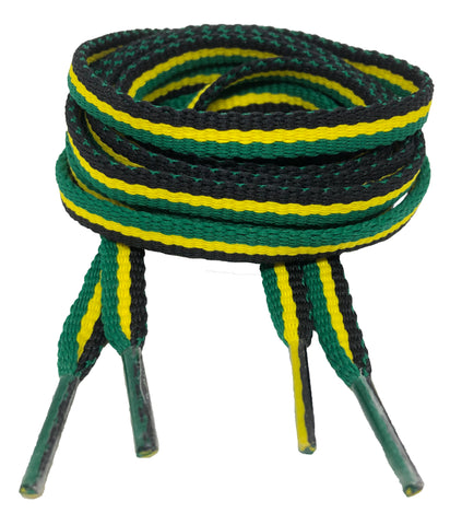 Flat Padded Striped Shoelaces Black Yellow Green - 8mm wide
