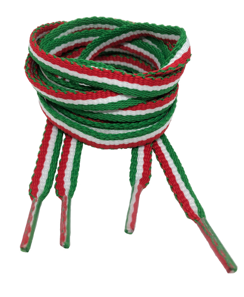Flat Padded Striped Shoelaces Green White Red - 8mm wide