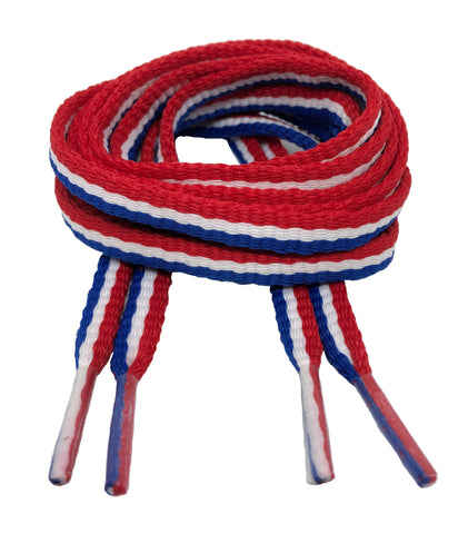 Flat Padded Striped Shoelaces Red White Blue - 8mm wide