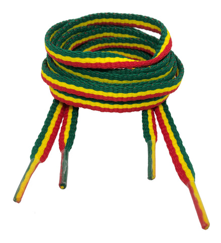 Flat Padded Striped Shoelaces Red Yellow Green - 8mm wide