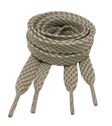 Flat Patterned Strong Shoelaces Beige Oatmeal - 12mm wide