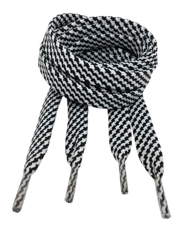 Flat Patterned Strong Shoelaces Black White - 12mm wide