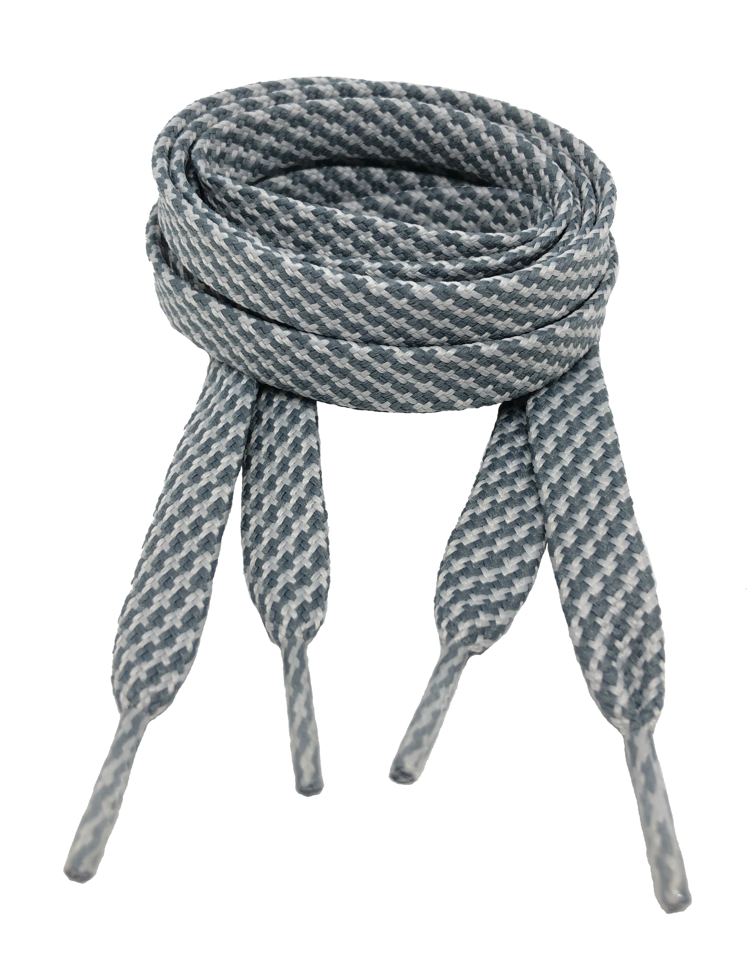 Flat Patterned Strong Shoelaces Dark Grey Light Grey - 12mm wide