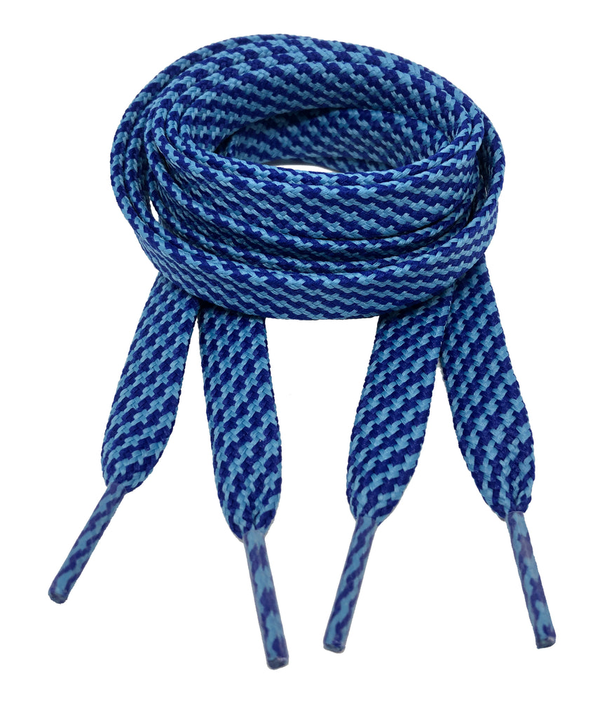 Flat Patterned Strong Shoelaces Blue Royal Blue - 12mm wide