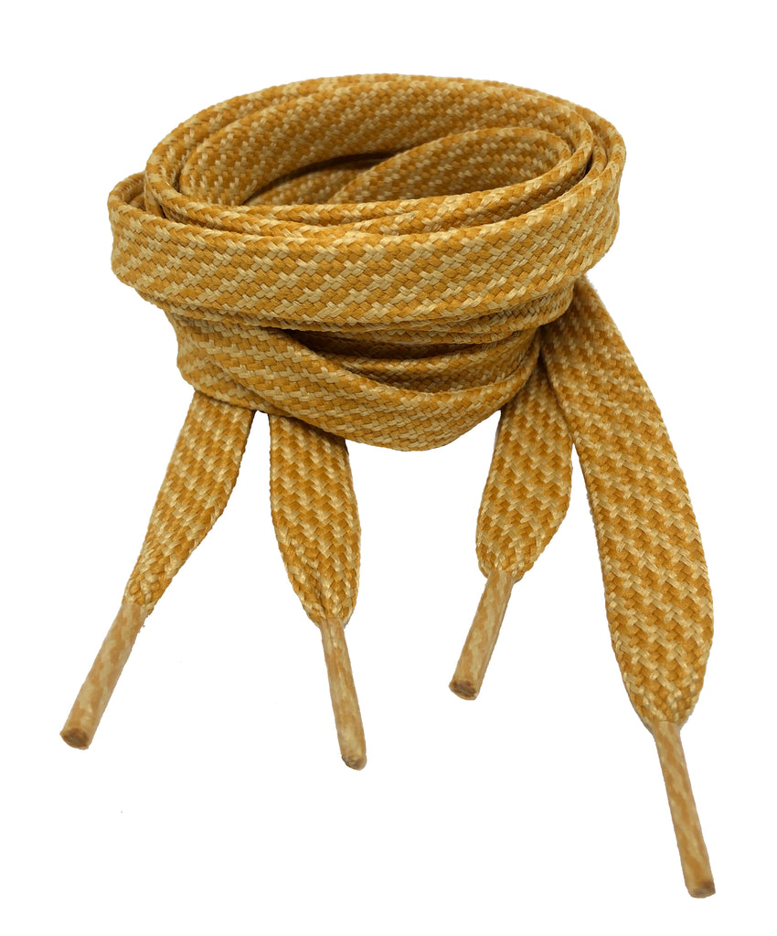 Flat Patterned Strong Shoelaces Sand Mustard - 12mm wide