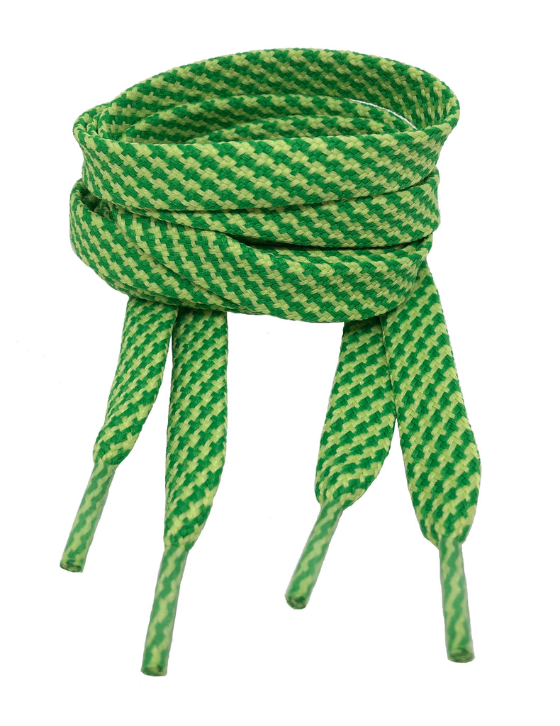 Flat Patterned Strong Shoelaces Green Pale Green - 12mm wide