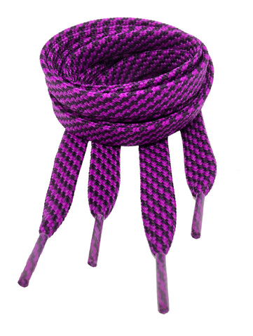 Flat Patterned Strong Shoelaces Purple Aubergine - 12mm wide