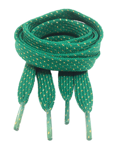 Flat Patterned Glitter Strong Shoelaces Kelly Green - 13mm wide