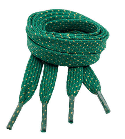 Flat Patterned Glitter Strong Shoelaces Green - 13mm wide