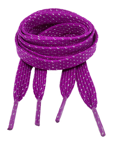 Flat Patterned Glitter Strong Shoelaces Purple - 13mm wide