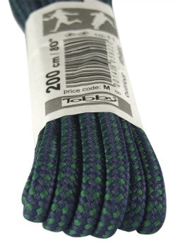 Strong Round Navy Blue and Green Walking Boot Laces