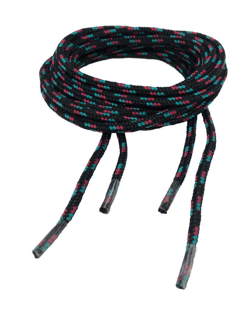 Round Patterned Strong Shoelaces/Bootlaces Black Turquoise Dark Pink - 4mm wide