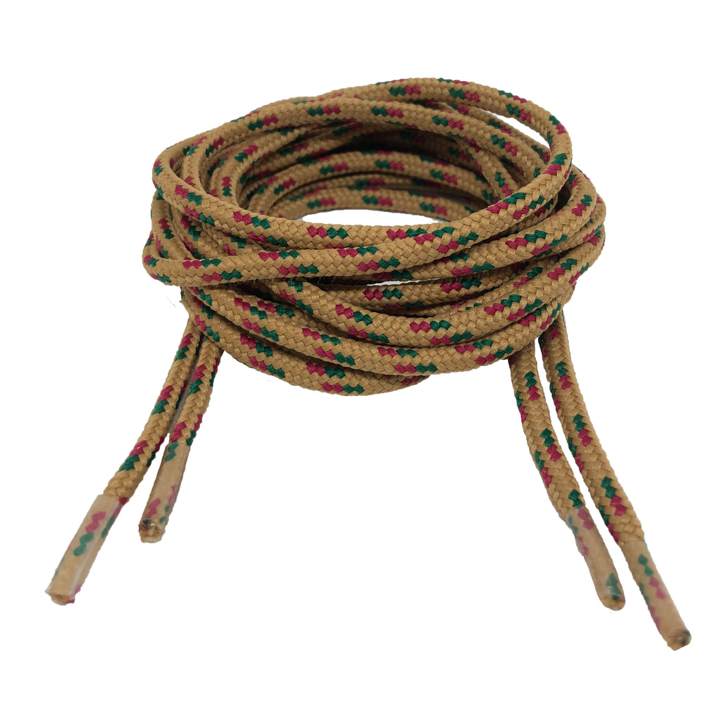Round Patterned Strong Shoelaces/Bootlaces Mustard Green Dark Pink - 4mm wide