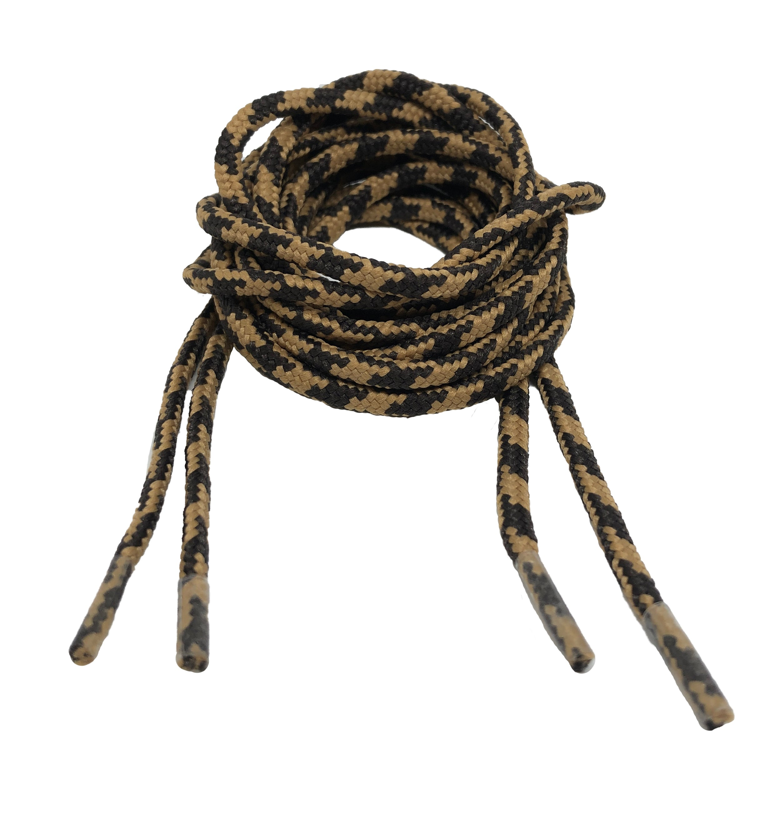 Round Patterned Strong Shoelaces/Bootlaces Brown Light Brown - 4mm wide