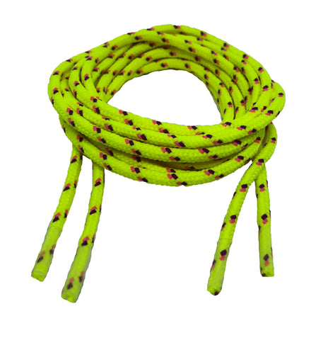 Round Patterned Strong Shoelaces/Bootlaces Neon Yellow Neon Pink Purple - 4mm wide