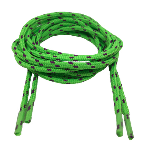 Round Patterned Strong Shoelaces/Bootlaces Neon Green Purple - 4mm wide