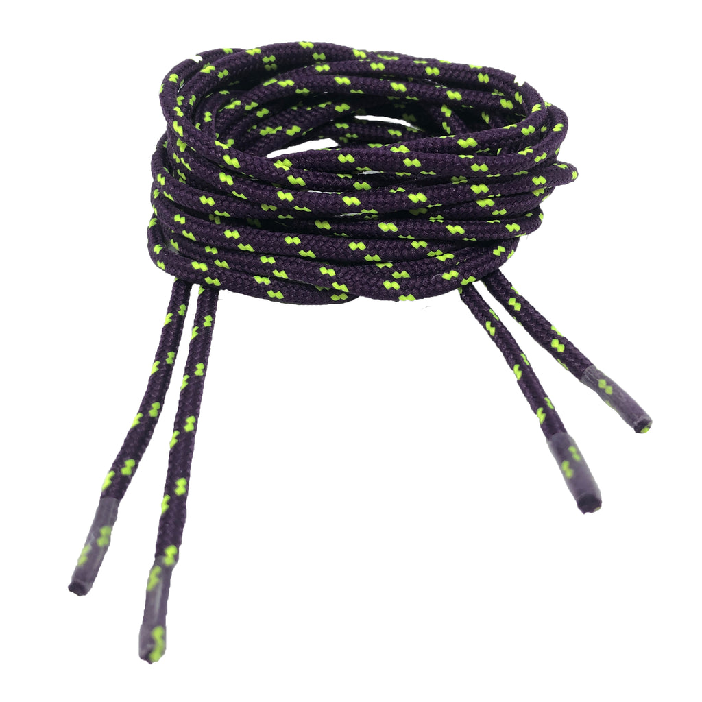 Round Patterned Strong Shoelaces/Bootlaces Aubergine Neon Yellow - 4mm wide