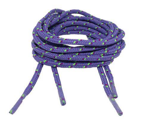 Round Patterned Strong Shoelaces/Bootlaces Lilac Purple Lime - 4mm wide
