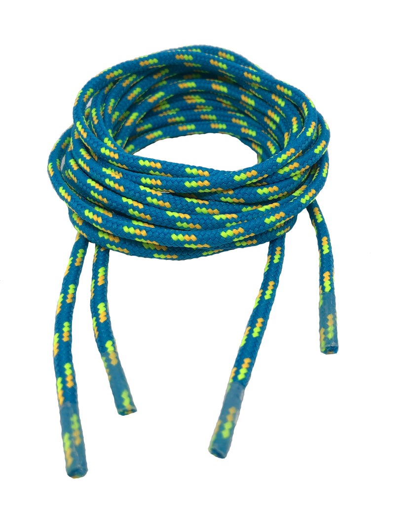 Round Patterned Strong Shoelaces/Bootlaces Turquoise Neon Yellow Orange - 4mm wide