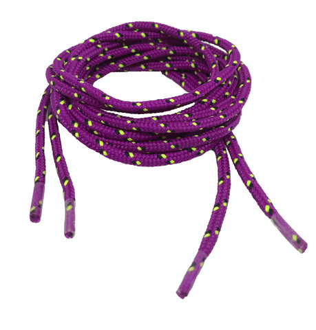 Round Patterned Strong Shoelaces/Bootlaces Purple Black Neon Yellow - 4mm wide
