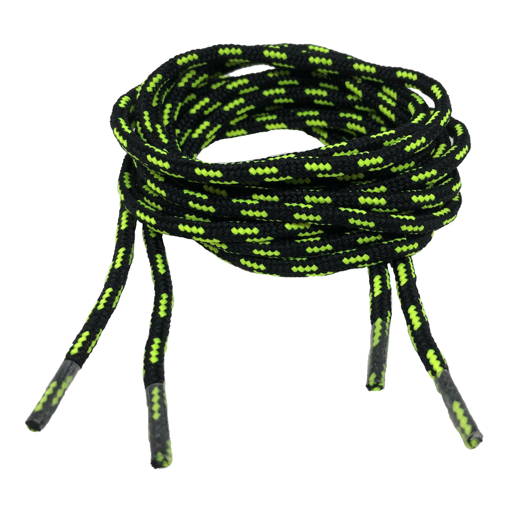 Round Patterned Strong Shoelaces/Bootlaces Black Neon Yellow - 4mm wide