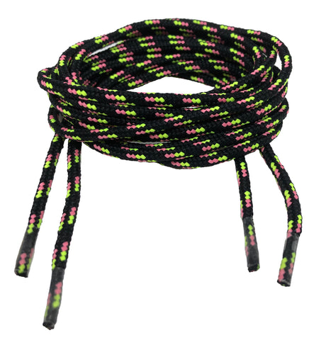 Round Patterned Strong Shoelaces/Bootlaces Black Neon Yellow Pink - 4mm wide