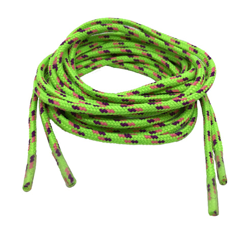 Round Patterned Strong Shoelaces/Bootlaces Neon Green Purple Neon Pink - 4mm wide