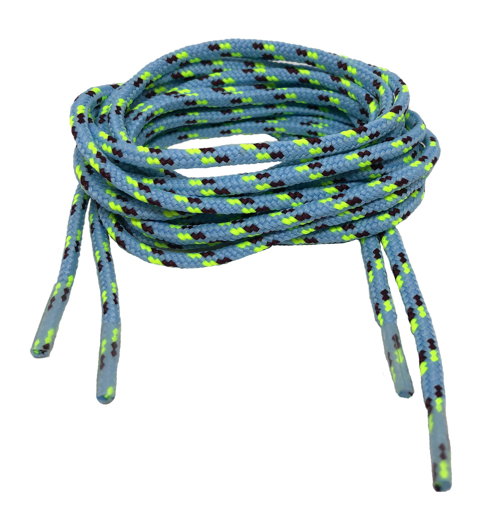 Round Patterned Strong Shoelaces/Bootlaces Baby Blue Neon Yellow Prune - 4mm wide