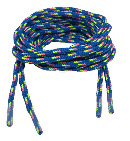 Round Patterned Strong Shoelaces/Bootlaces Royal Blue Neon Yellow Neon Pink - 4mm wide