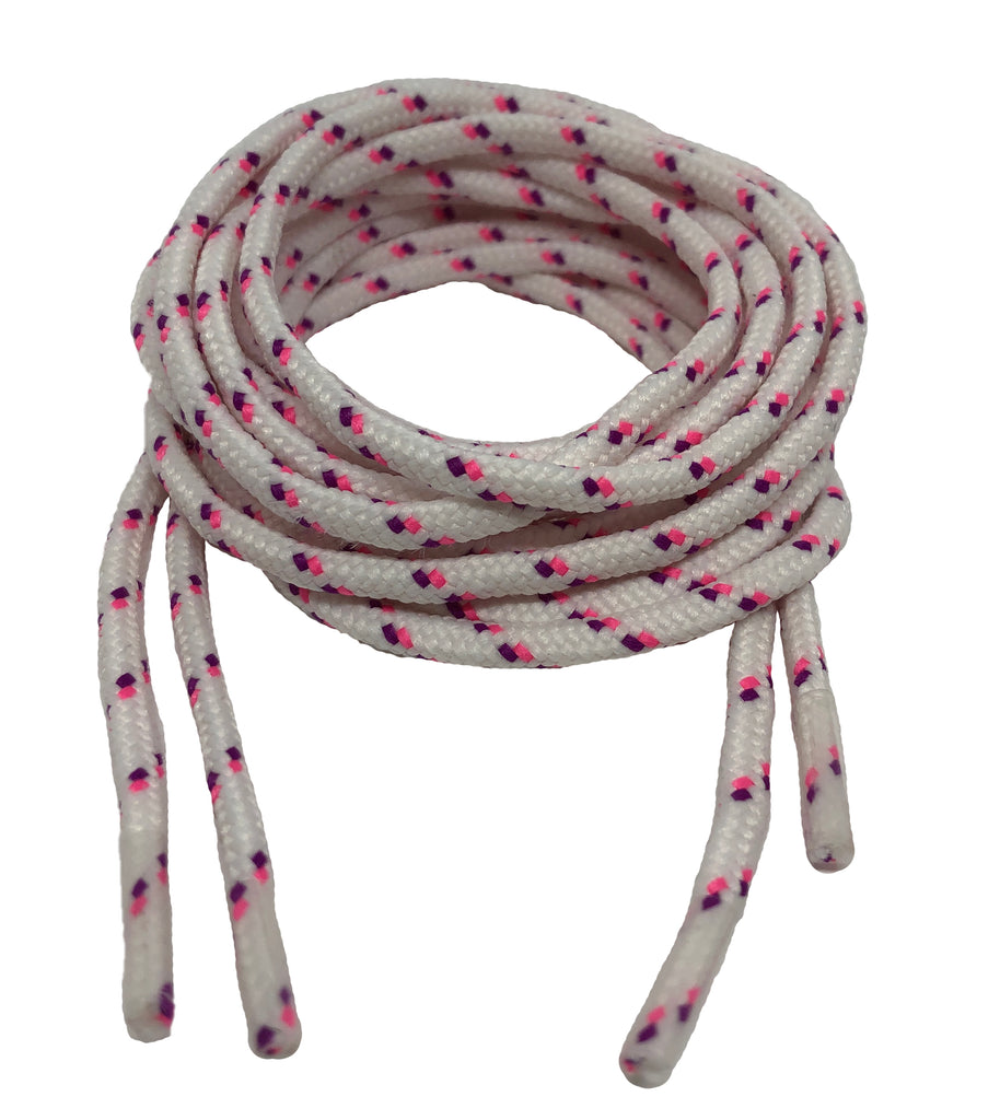 Round Patterned Strong Shoelaces/Bootlaces White Pink Neon Pink - 4mm wide
