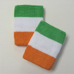 Green White and Orange Sports Quality Wristbands