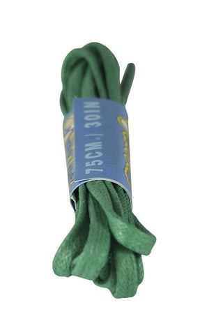 Flat Waxed Kelly Green Cotton Shoe Boot Laces