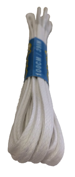 Flat Waxed White Cotton Shoe Boot Laces - 4mm, 7mm or 8mm wide