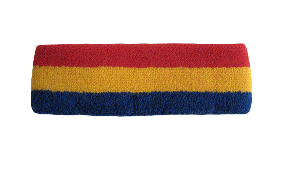 Blue Yellow and Red Sports Quality Headband