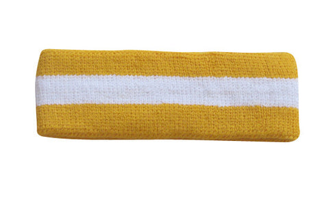 White and Gold Yellow Sports Quality Headband