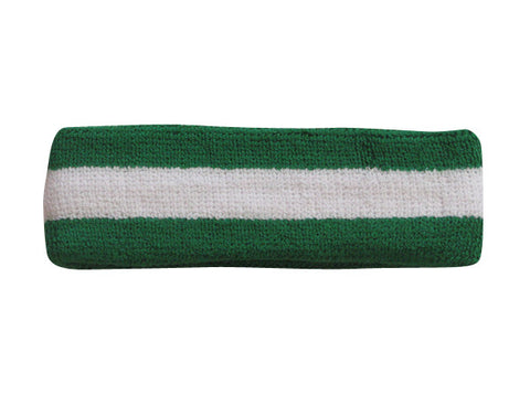 White and Green Sports Quality Headband