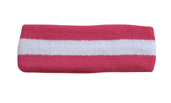 White and Hot Pink Sports Quality Headband