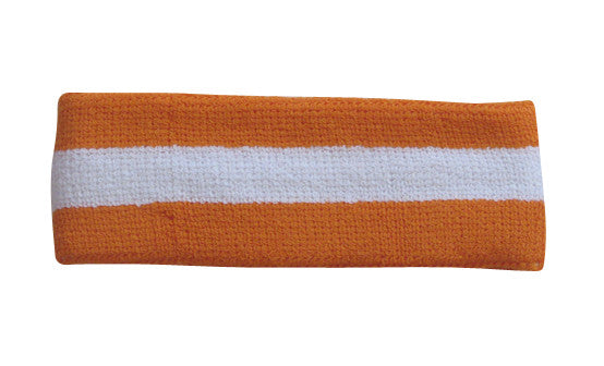 White and Light Orange Sports Quality Headband