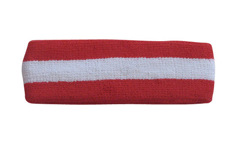 White and Red Sports Quality Headband