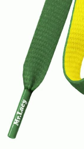 Mr Lacy Clubbies - Flat Yellow and Green Shoelaces