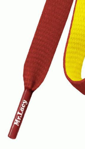 Mr Lacy Clubbies - Flat Yellow and Red Shoelaces