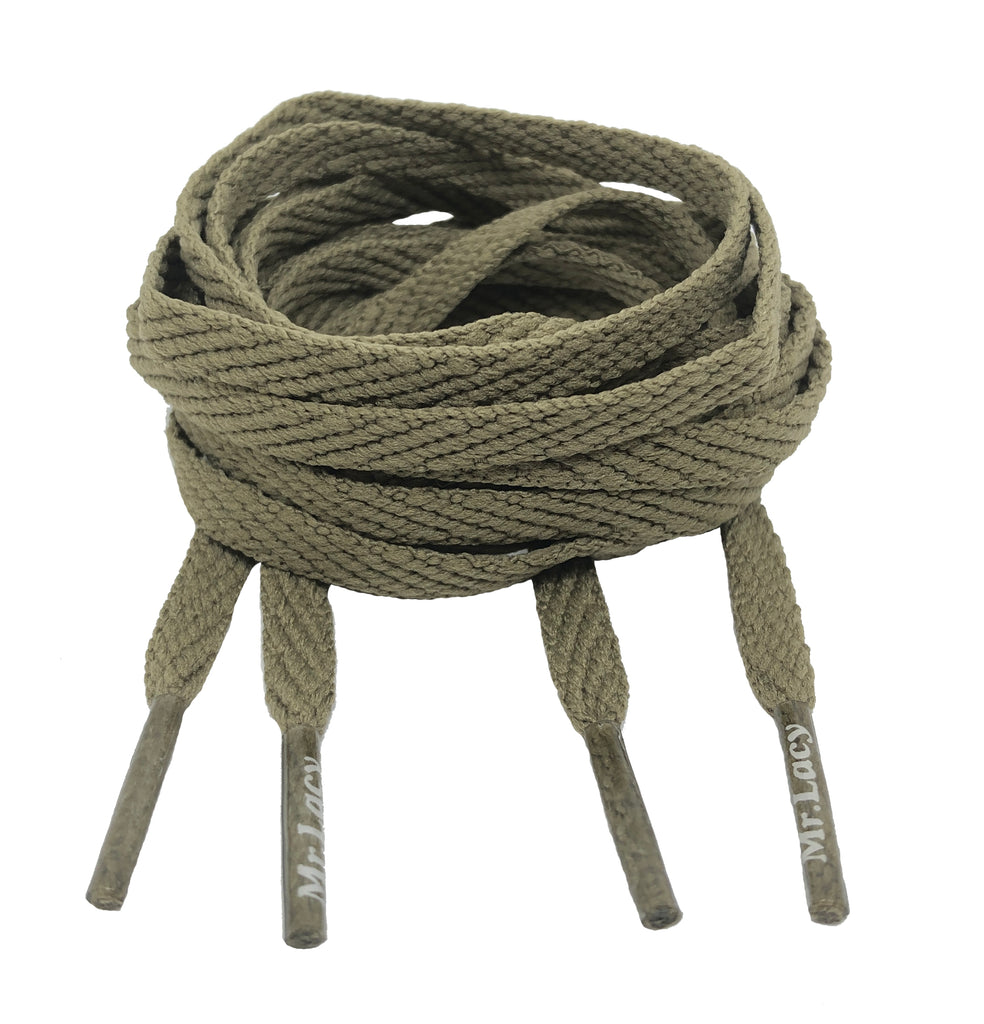 Mr Lacy Skinnies - Flat Khaki Shoelaces - 6mm wide