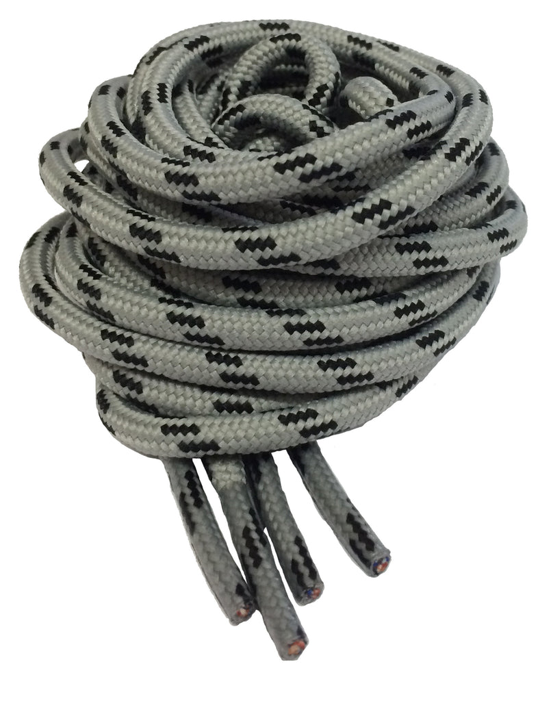 Round Grey and Black Bootlaces