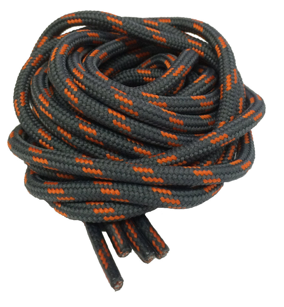 Round Grey and Orange Bootlaces