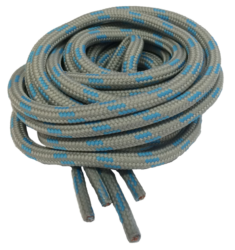 Round Grey and Pale Blue Bootlaces